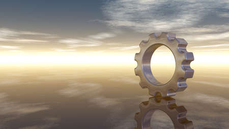 gear wheel on reflective surface - 3d rendering Stock Photo