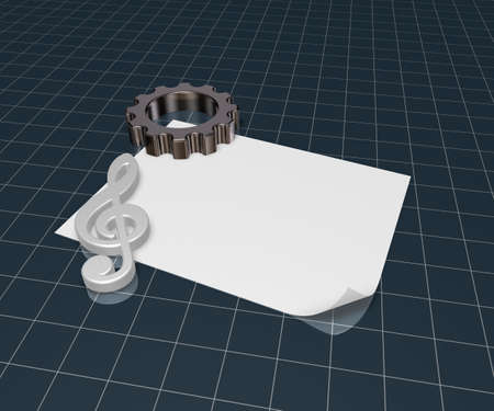 3d rendering wheel: gear wheel and metal clef on white paper sheet - 3d rendering Stock Photo