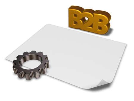 b2b: etiqueta b2b y rueda dentada - 3d prestaci�n