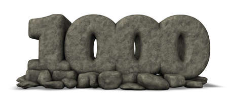 thousand: stone number thousand on white background - 3d rendering