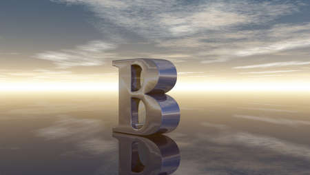 cloudy sky: metal uppercase letter b under cloudy sky - 3d rendering Stock Photo