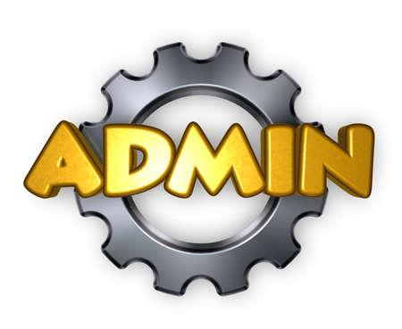 cogwheel: the word admin and gear wheel - 3d rendering