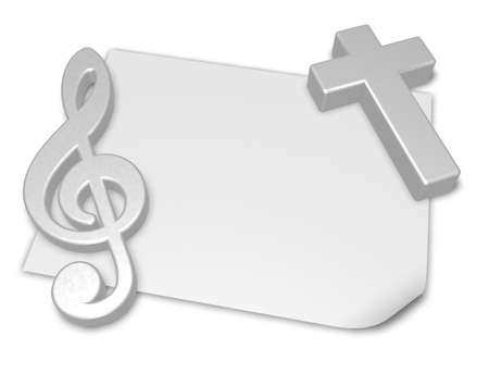 protestant: clef and cross on blank white paper sheet - 3d rendering Stock Photo