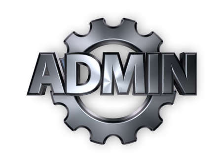 ascended: the word admin and gear wheel - 3d rendering