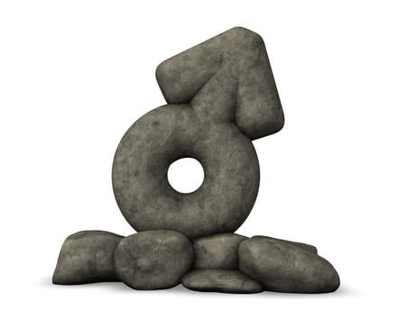 homosexual sex: stone male symbol on white background - 3d rendering Stock Photo