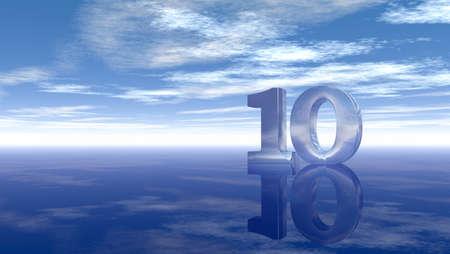 numero diez: número diez bajo el cielo nublado - 3d prestación