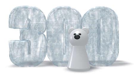 hundred: frozen number three hundred and polar bear - 3d rendering