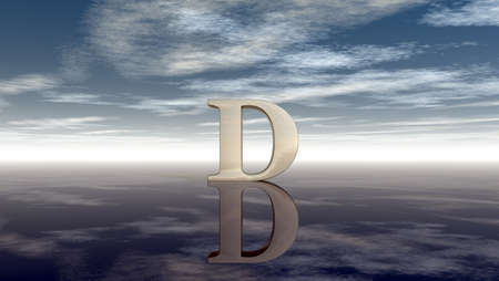 horizon reflection: metal uppercase letter d under cloudy sky - 3d rendering Stock Photo