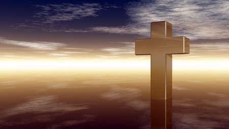 christelijke kruis onder bewolkte hemel - 3d rendering