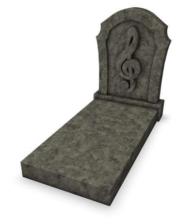 macabre: gravestone with clef symbol - 3d rendering