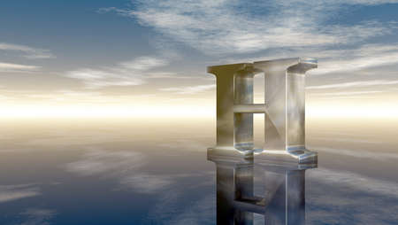 horizon reflection: metal uppercase letter h under cloudy sky - 3d rendering Stock Photo