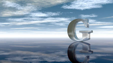 alphabetic character: metal uppercase letter g under cloudy sky - 3d rendering