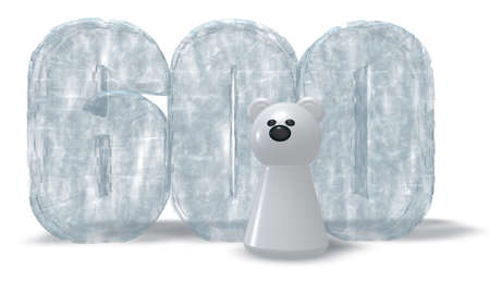 cipher: frozen number six hundred and polar bear - 3d rendering