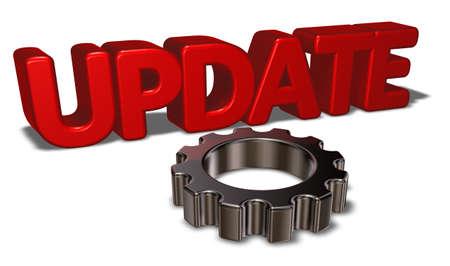 3d rendering wheel: the word update and gear wheel - 3d rendering