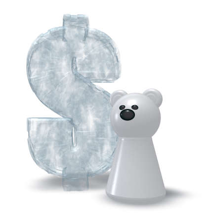 pawn: ice dollar symbol and white bear pawn - 3d rendering Stock Photo