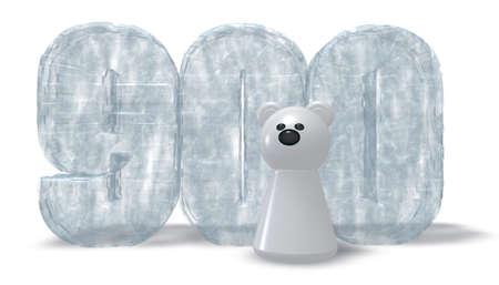 numero nueve: n�mero congelada novecientos oso polar - Las 3D