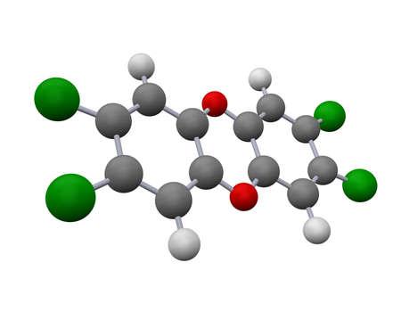 dioxin: dioxin molecule model - 3d rendering