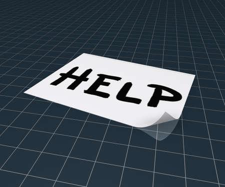 general knowledge: the word help on paper sheet - 3d rendering