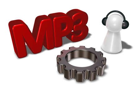 3d rendering wheel: mp3 tag, gear wheel and pawn with headphones - 3d rendering Stock Photo