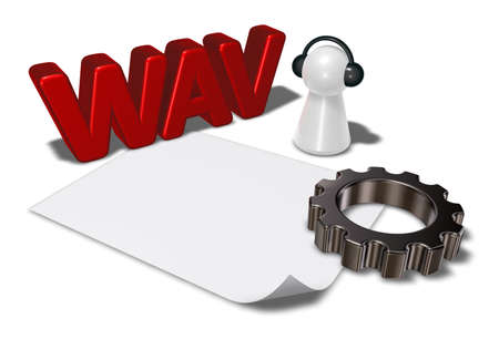 wav: wav tag, gear wheel and pawn with headphones - 3d rendering
