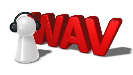 wav: wav tag and pawn with headphones - 3d rendering