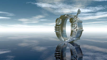 machine letter o under cloudy sky - 3d illustration Stock Photo