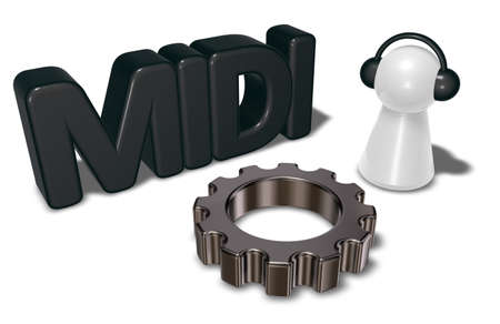 midi: midi tag, gear wheel and pawn with headphones - 3d rendering