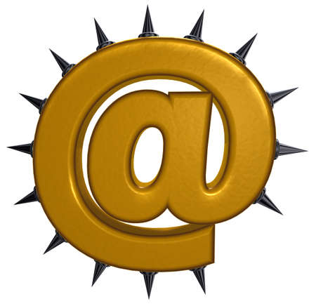prickles: email symbol with prickles on white background- 3d illustration