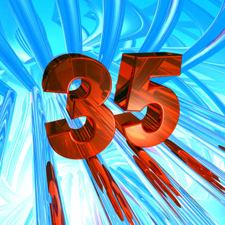 thirty five: number thirty five in abstract space - 3d illustration Stock Photo