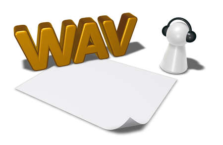 wav: wav tag, blank white paper sheet and pawn with headphones - 3d rendering
