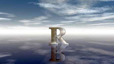 horizon reflection: metal uppercase letter r under cloudy sky - 3d rendering