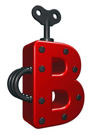 uppercase: uppercase letter b with decorative pieces - 3d rendering
