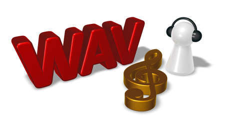 wav: wav tag, clef symbol and pawn with headphones - 3d rendering