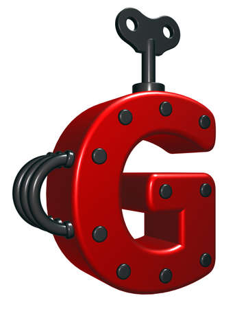 rivets: letter g with decorative pieces - 3d rendering