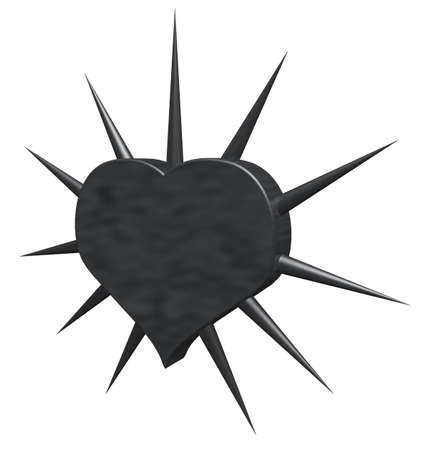 prickles: heart symbol with prickles - 3d rendering Stock Photo