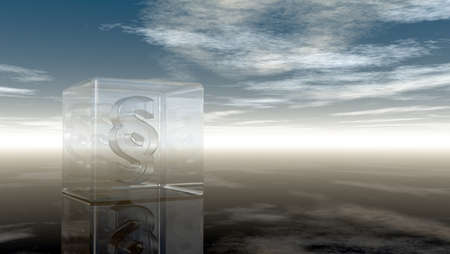 judicature: paragraph symbol in glass cube under cloudy sky - 3d rendering Stock Photo
