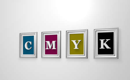pictureframe: four picture frames with the letters cmyk on white wound - 3d illustration