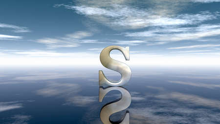 metal uppercase letter s under cloudy sky - 3d rendering Stock Photo