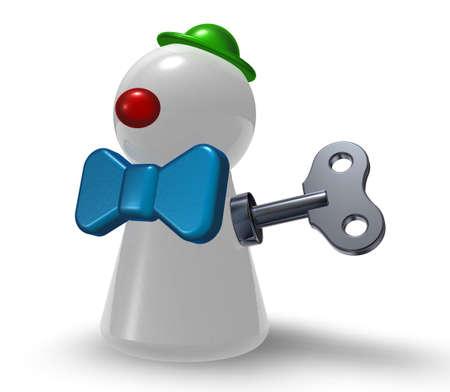 winder: wind-up clown pawn on white background - 3d illustration