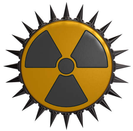 prickles: nuclear symbol with prickles on white background - 3d illustration