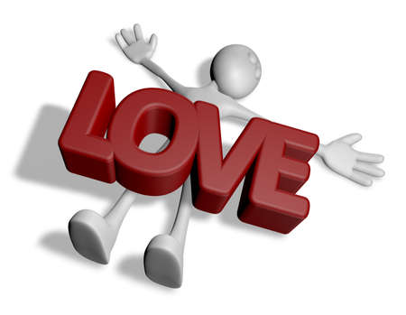 killed: cartoonguy under the word love - 3d rendering