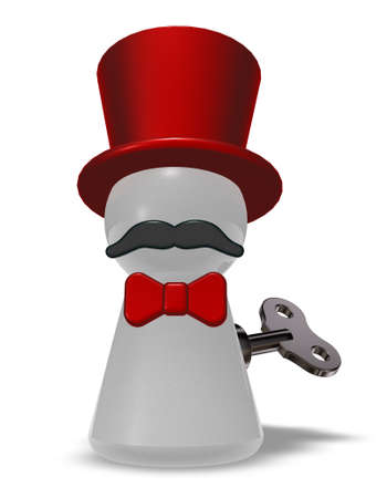 winder: pawn with hat and beard - 3d rendering Stock Photo