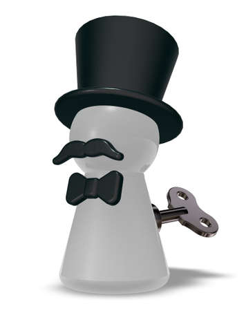 pawn with hat and beard - 3d rendering Stock Photo