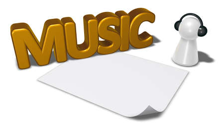 music tag, blank white paper sheet and pawn with headphones - 3d rendering