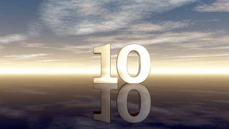 number ten: number ten under cloudy sky - 3d illustration Stock Photo