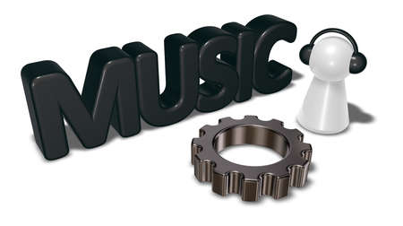 music machine: music tag, gear wheel and pawn with headphones - 3d rendering