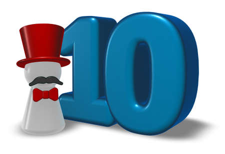 number ten: number ten and pawn with hat and beard - 3d rendering Stock Photo