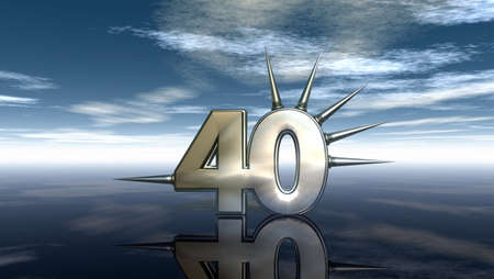 forty: number forty with prickles under cloudy sky - 3d illustration