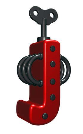 rivets: letter j with decorative pieces - 3d rendering