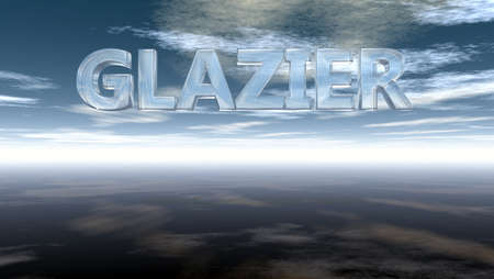 glazier: the word glazier in glass under cloudy sky - 3d rendering Stock Photo